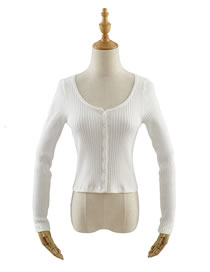 Fashion White Long-sleeved Round Neck Single-breasted Knitted Cardigan
