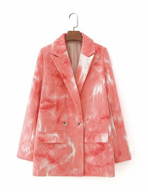 Fashion Red Tie-dye Printed Suit Jacket