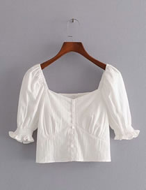 Fashion White Square Collar Fungus Sleeve Short Top
