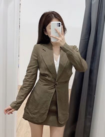 Fashion Gray Linen Slim Blazer