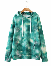 Fashion Green Printed Hooded Lace Up Sweater