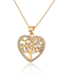 Fashion Gold-plated White Zirconium Heart-shaped Big Tree Zircon Hollow Necklace