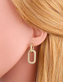 Fashion Golden Geometric Double Ring Lock Earrings With Diamonds