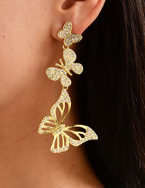 Fashion Golden Gold-plated Crystal Butterfly Cutout Earrings