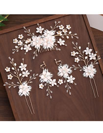 Fashion White Handmade Flower Crystal Alloy Hairpin Comb Set