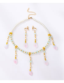 Fashion White Resin Pearl Tassel Alloy Crystal Necklace Earrings