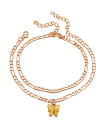 Fashion Yellow Resin Butterfly Chain Double Anklet