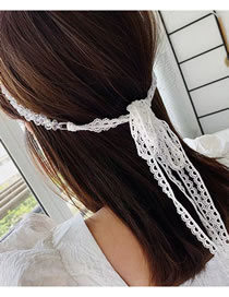 Fashion White Crystal Pearl Lace Necklace Headband