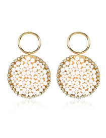 Fashion Golden Pearl And Diamond Geometric Round Alloy Earrings