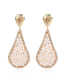 Fashion Golden Drop-shaped Alloy Pearl Earrings With Diamonds