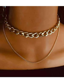 Fashion Golden Alloy Thick Chain Double-layer Necklace