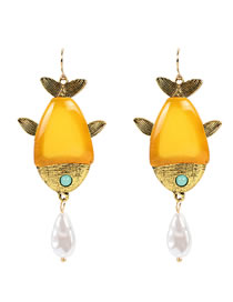 Fashion Yellow Alloy Dripping Fish-shaped Pearl Earrings