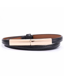 Fashion Black Slim Belt Waist Adjustment Buckle Belt