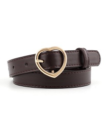 Fashion Coffee-gold Buckle Heart-shaped Heart Buckle Belt