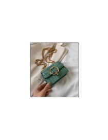 Fashion Trumpet Green Chain Shoulder Bag With Stone Pattern Lock