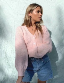 Fashion Pink Solid Color Single-breasted V-neck Knitted Cardigan