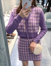 Fashion Purple Houndstooth Skirt With Houndstooth Print Knitted Jacket