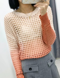 Fashion Color Tie-dyed Openwork Mesh Gradient Sweater