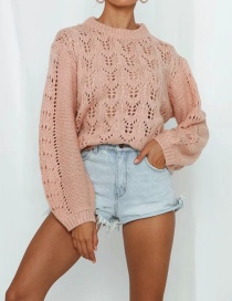 Fashion Pink Openwork Solid Color Knitted Sweater