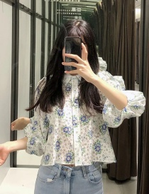 Fashion Blue Flower Print Bouquet Mouth Shirt