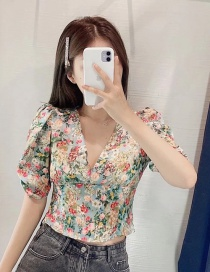 Fashion Color Mixing Floral Print Stitching Deep V-neck Top