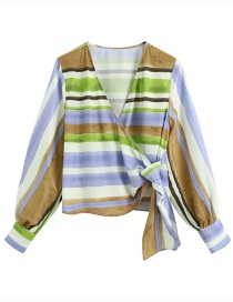 Fashion Color Mixing Striped Cross Hem Knotted V-neck Top