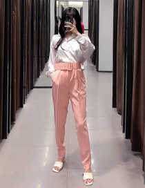 Fashion Pink Solid Color High Waist Pants With Belt