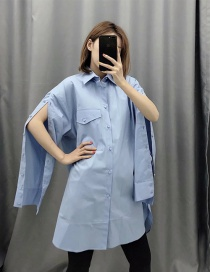 Fashion Blue Single-breasted Loose-fitting Shirt With Pockets