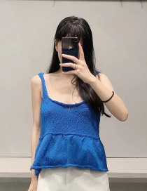 Fashion Blue Splicing Knitted Sleeveless Camisole