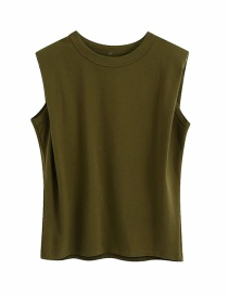 Fashion Green Shoulder Round Neck Solid Color Loose T-shirt