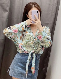 Fashion Printed Color Swing Knotted Flower And Leaf Printed Shirt