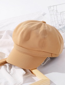 Fashion Khaki Solid Color Stitching Octagonal Cap