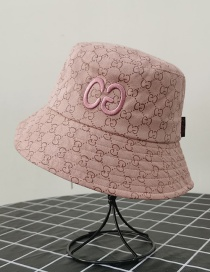 Fashion Pink Letter Embroidered Printed Sunshade Fisherman Hat