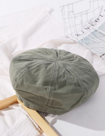 Fashion Gray Green Line Stitching Solid Color Octagonal Cap