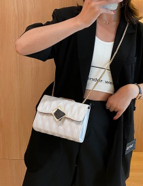 Fashion White One-shoulder Diagonal Shoulder Bag With Embroidery Chain Lock
