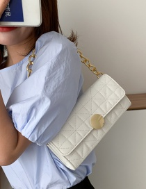 Fashion White Chain Lock Embroidery Thread Quilted Shoulder Bag