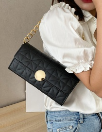 Fashion Black Chain Lock Embroidery Thread Quilted Shoulder Bag