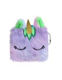 Fashion Green Square Unicorn Plush Children's Wallet