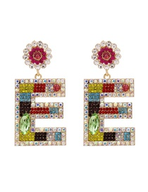 Fashion Color Alphabet Flower Earrings With Diamonds