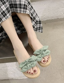 Fashion Green Flat Bow Sandals And Slippers Outside