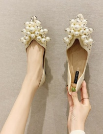 Fashion Creamy-white Pearl Rhinestone Pointed Toe Flats