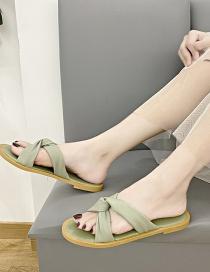 Fashion Green Flat Cross Slippers With Flat Bottom