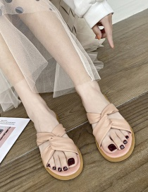 Fashion Pink Flat Cross Slippers With Flat Bottom