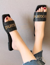 Fashion Black Flat Rhinestone Slippers