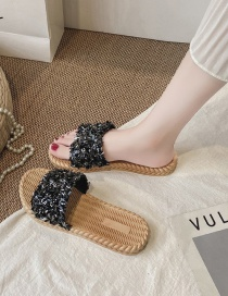 Fashion Black Flat Bottom Sandals And Slippers With Sequins