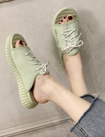 Fashion Green Flying Woven Lace Sandals