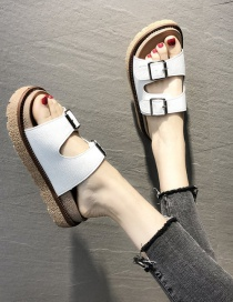 Fashion White Flat Bottom Flat Sandals And Slippers With Belt Buckle