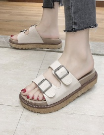 Fashion Creamy-white Flat Bottom Flat Sandals And Slippers With Belt Buckle