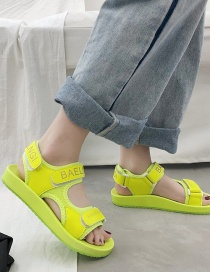 Fashion Green Velcro Letter Printed Platform Sandals