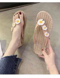 Fashion Pink Flower Weave Flip Flops